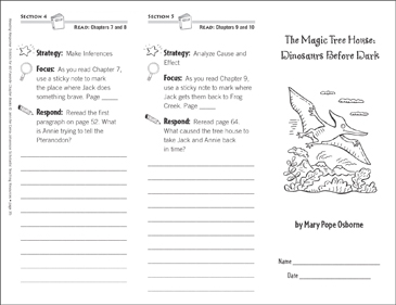 The Magic Tree House Dinosaurs Before Dark Level M Reading Response Trifold