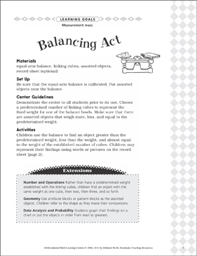 balancing act mass differentiated math learning center - Balancing Act Worksheet