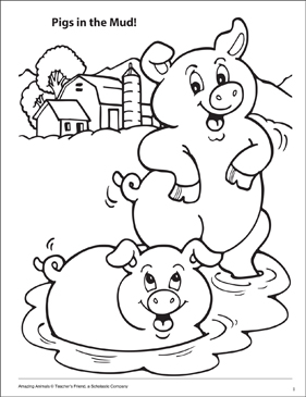 pigs in the mud amazing animals coloring page