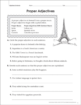 proper adjectives grammar practice page printable skills sheets. Black Bedroom Furniture Sets. Home Design Ideas