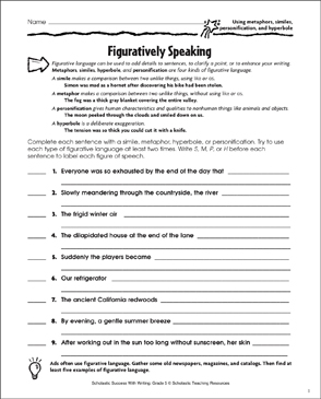 Figuratively Speaking (Using Metaphors, Similes, Personification ...
