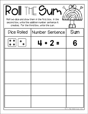 roll the sum roll the dice math printable skills sheets. Black Bedroom Furniture Sets. Home Design Ideas
