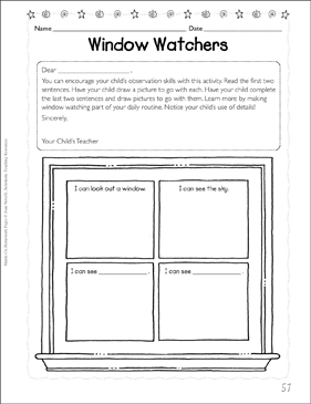 window watchers observations printable skills sheets and graphic