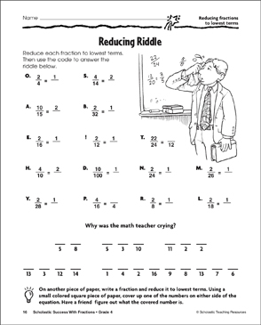 Reducing Riddle  Reducing Fractions To Lowest Terms  Printable  Reducing Riddle  Reducing Fractions To Lowest Terms