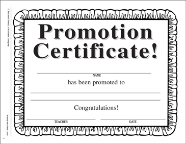 promotion certificate printable awards incentives and skills sheets