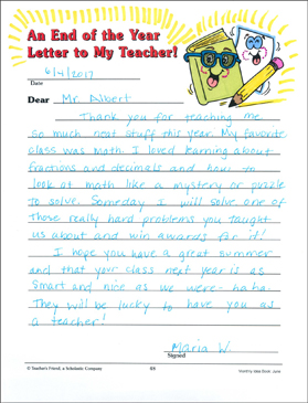 an end of the year letter to my teacher
