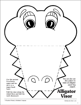 graphic about Printable Arts and Crafts called Alligator: Visor Routine Printable Arts, Crafts and Abilities