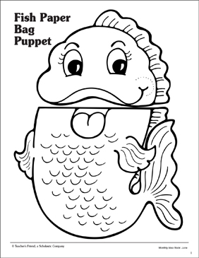 Slobbery image inside free printable paper bag puppet templates