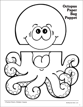 Octopus: Paper Bag Puppet Pattern | Printable Arts, Crafts and ...