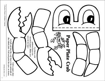 paper plate crab printable arts crafts and skills sheets