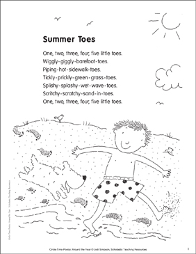 summer toes poem and activities printable lesson plans ideas arts and crafts. Black Bedroom Furniture Sets. Home Design Ideas