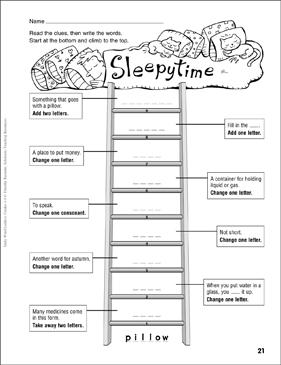 Sleepytime Word Ladder Grades 4 6 Printable Skills Sheets