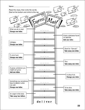 express mail word ladder grades 4 6 printable skills sheets