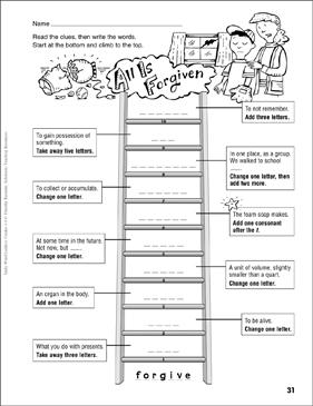 All Is Forgiven Word Ladder Grades 4 6 Printable Skills Sheets