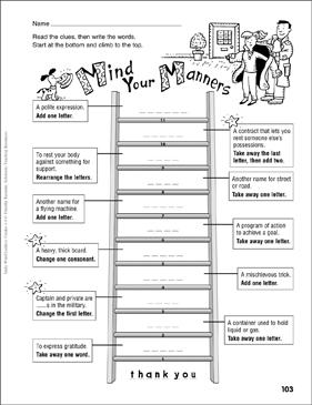 mind your manners word ladder grades 4 6 printable skills sheets. Black Bedroom Furniture Sets. Home Design Ideas
