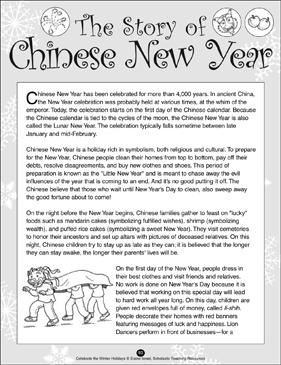 the story of chinese new year printable lesson plans ideas and skills sheets. Black Bedroom Furniture Sets. Home Design Ideas