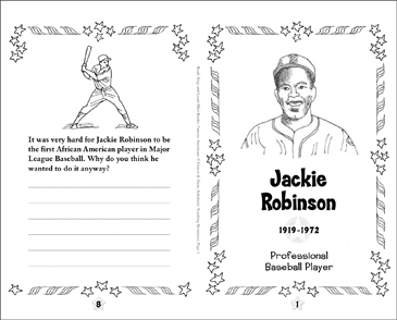 jackie robinson famous american printable mini books