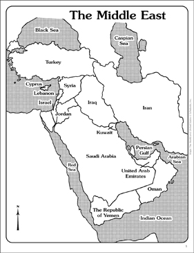 Shocking image in printable maps of middle east