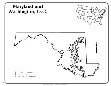 Printable Dc Map.Maryland And Washington D C State Outline Map Printable Maps