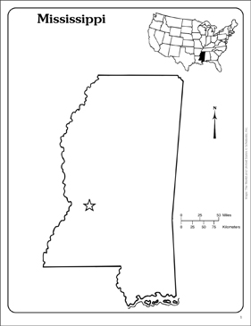 Mississippi State Map Outline.Mississippi State Outline Map Printable Maps And Skills Sheets
