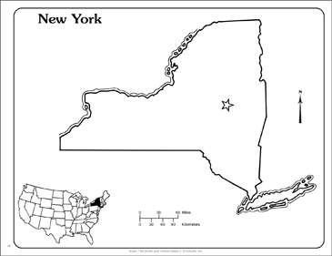 New York State Outline Map Printable Maps And Skills Sheets