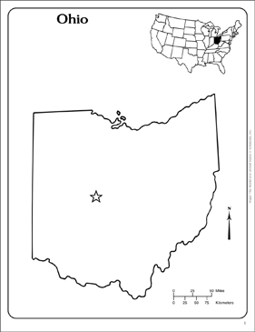 Outline Map Of Ohio.Ohio State Outline Map Printable Maps And Skills Sheets