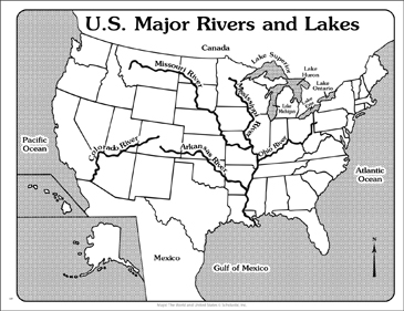 U.S. Major Rivers and Lakes (Outline Map) | Printable Maps and ...