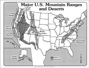 US Major Mountain Ranges and Deserts Outline Map Printable