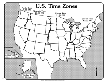 U.S. Time Zones (Outline Map)   Printable Maps and Skills Sheets