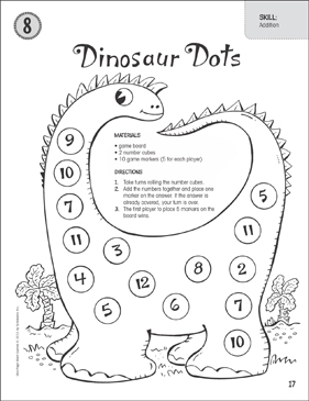 dinosaur dots addition one page math game printable game boards and skills sheets. Black Bedroom Furniture Sets. Home Design Ideas