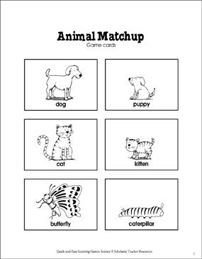 Image of: Preschoolers Animal Matchup Card Game Scholastic Teachables Animal Matchup Card Game Printable Card Games And Skills Sheets