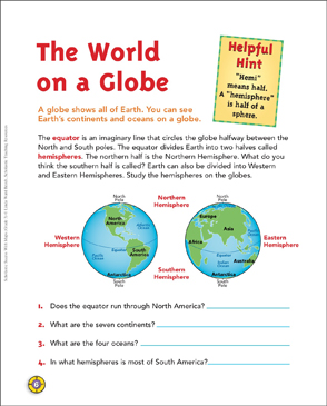 The world on a globe map skills printable maps and skills sheets the world on a globe map skills gumiabroncs Images