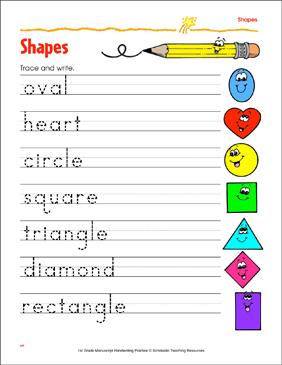 trace and write shape words printable skills sheets. Black Bedroom Furniture Sets. Home Design Ideas