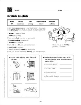 British English: Grade 5 Vocabulary | Printable Skills Sheets