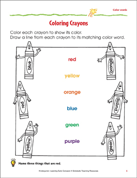 Coloring Crayons: Matching Color Words and Colors   Printable Skills ...