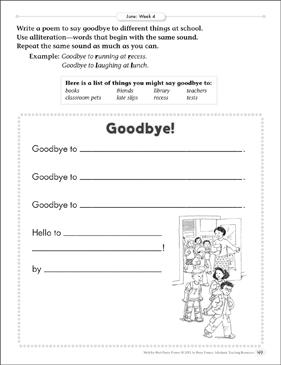 Goodbye! (Alliteration) Poetry Frame | Printable Skills Sheets
