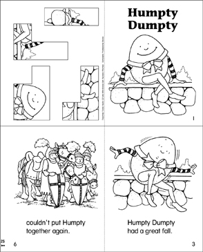 Humpty Dumpty Printable Mini Books Cut And Pastes - Printable-picture-books