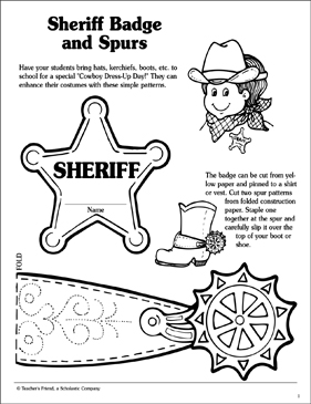 Sheriff Badge And Spurs | Printable Arts, Crafts and Skills Sheets