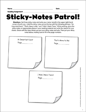 Sticky Notes Patrol Reading Response Graphic Organizer