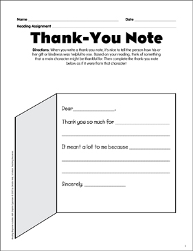 Thank you note reading response graphic organizer printable thank you note reading response graphic organizer expocarfo Images