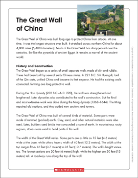 The Great Wall Of China Text Amp Organizer Printable