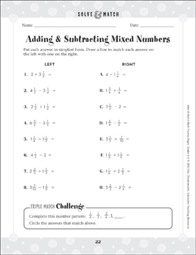 Adding & Subtracting Mixed Numbers | Printable Skills Sheets