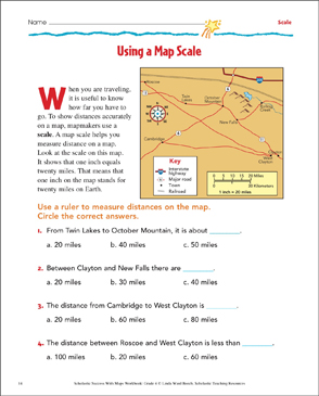 using a map scale map skills printable maps and skills sheets. Black Bedroom Furniture Sets. Home Design Ideas
