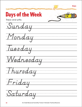 days of the week handwriting practice page printable skills sheets. Black Bedroom Furniture Sets. Home Design Ideas