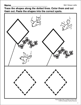 Cutting and Pasting Diamonds: Preschool Basic Skills (Scissor Skills ...