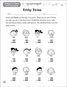 image relating to Twins Printable Schedule named Challenging Twins Printable Competencies Sheets and Amount Puzzles