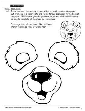 image regarding Printable Bear Mask identified as Undergo: Mask Habit Printable Arts and Crafts