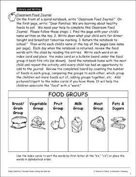 classroom food journal printable lesson plans and ideas