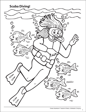 scuba diving ocean adventure coloring page