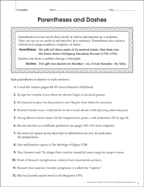 Parentheses and Dashes: Grammar Practice Page   Printable Skills Sheets